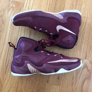 Nike lebron 13 red and rose gold basketball shoes